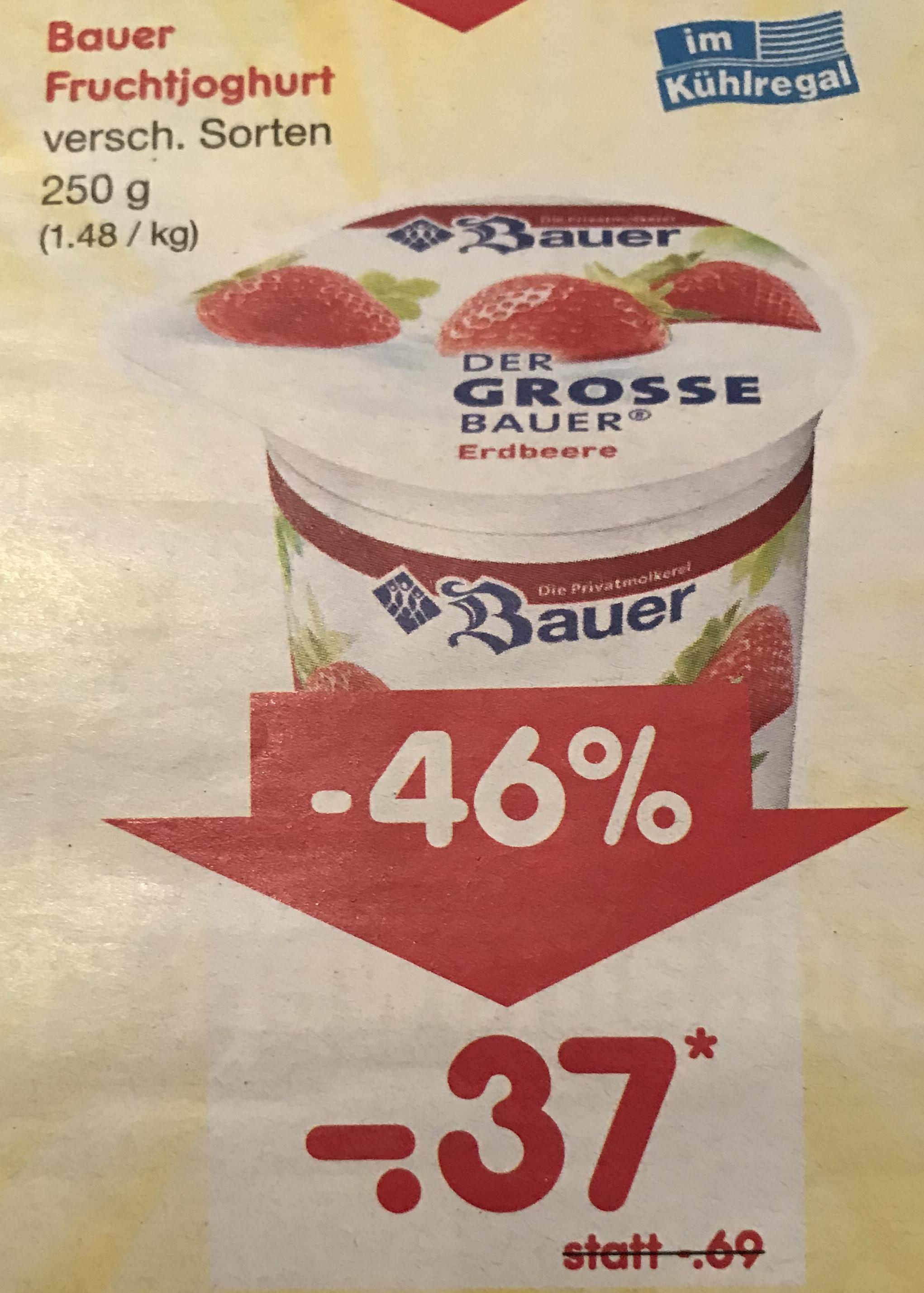 [NETTO - Marken Discount] Bauer Fruchtjoghurt versch. Sorten (250 g) - 17.03.18