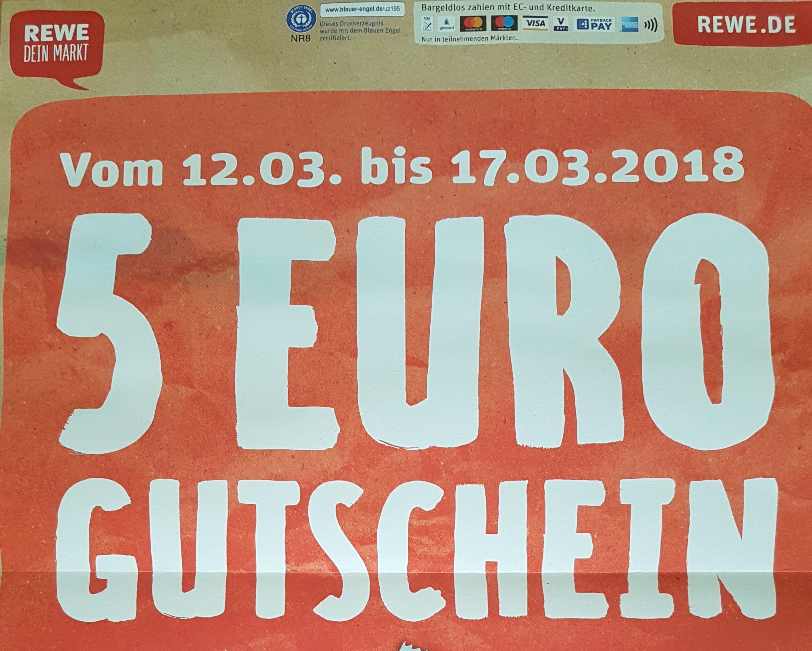 [Rewe] 5€ Gutschein bei 40€ Einkaufswert 12.3.-17.3.18