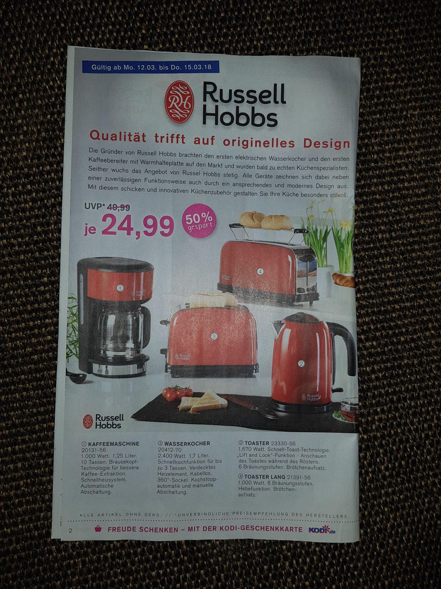 [KODI+online] Russell Hobbs Wasserkocher, Toaster, Kaffeemaschine