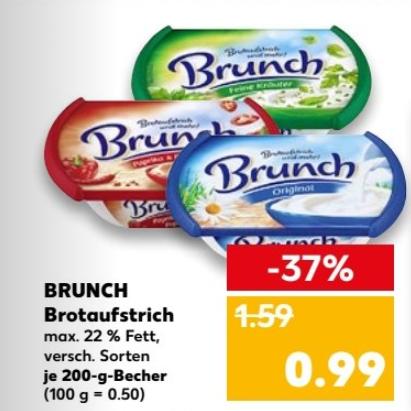 Brunch Brotaufstrich (versch. Sorten) 200g für 0,49€ bei Kaufland ab 15.03.18 (Angebot+Coupon)