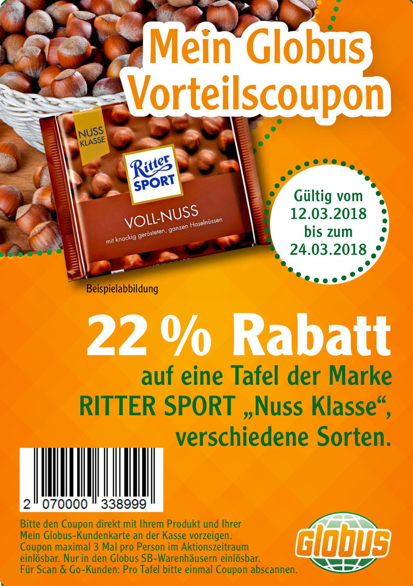 Globus Kundenkarte: 22% Rabatt auf Ritter Sport Nussklasse