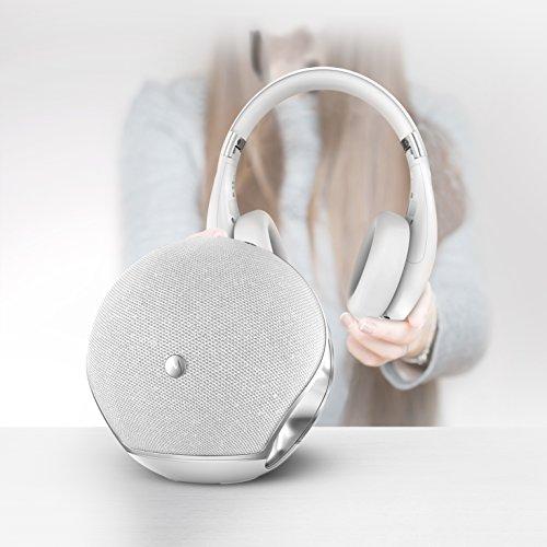Motorola Sphere+ | 2 in 1 Stereo Bluetooth Lautsprecher und Kopfhörer Set | Headset und Freisprechanlage | Weiß/Silber