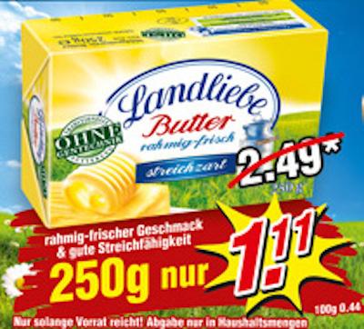 Landliebe Butter 250 g 1,11€ Wiglo Wunderland