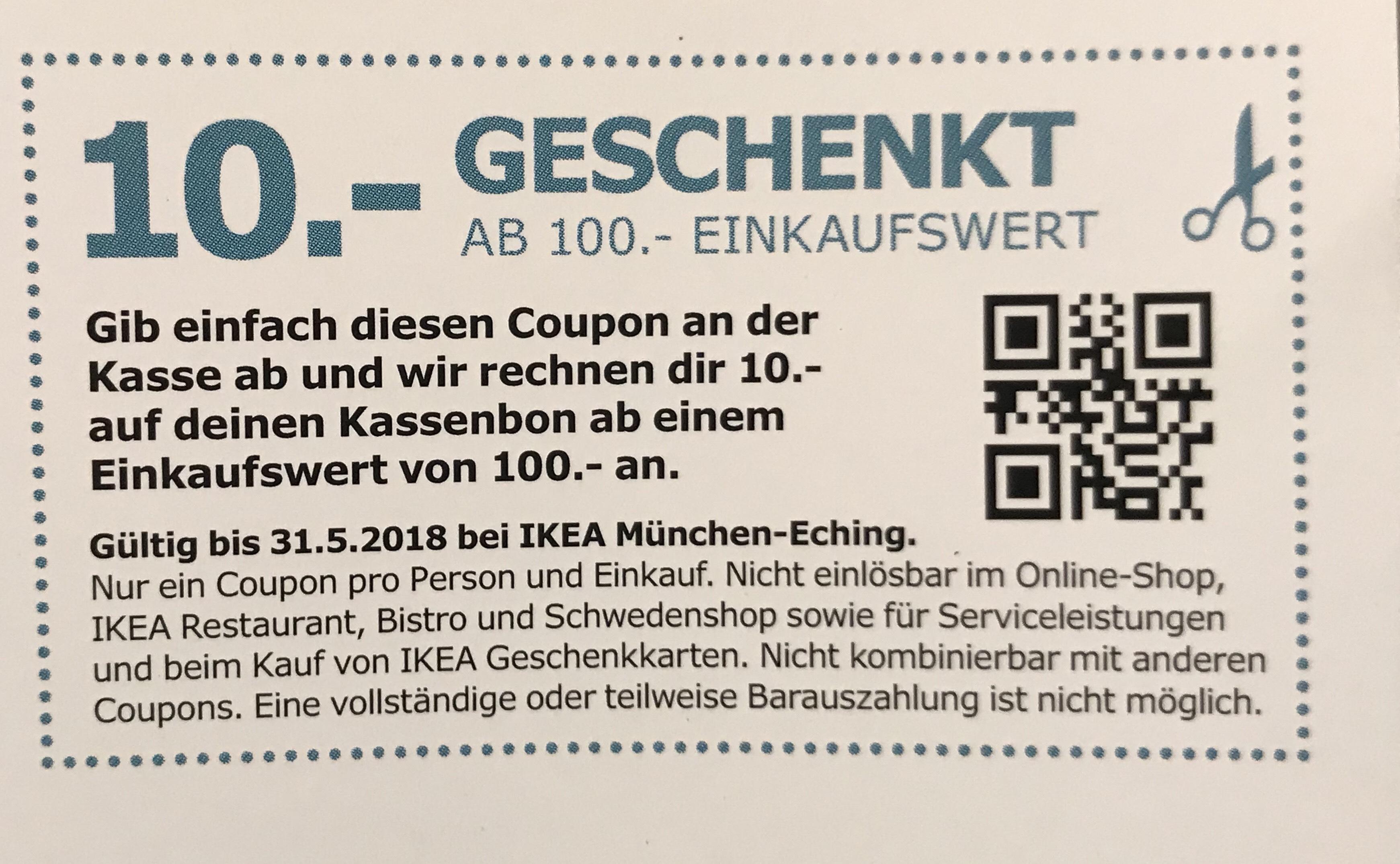 [lokal] München - Ikea - 10€ Rabatt ab 100€ Einkauf - München Eching