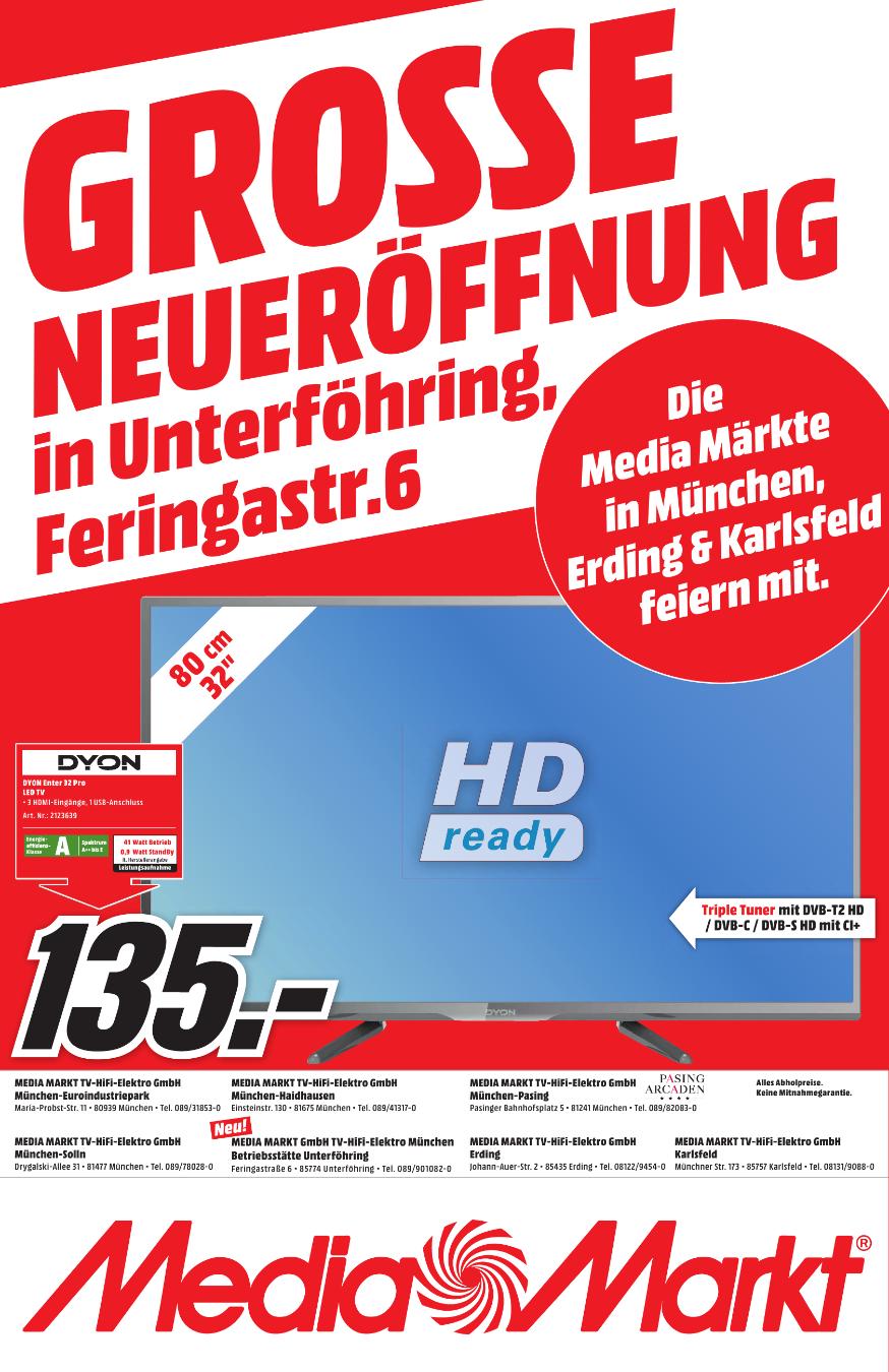 32 Zoll HD Tripple Tuner von DYON bei Media Markt (Lokal - Raum München) zum Bestpreis