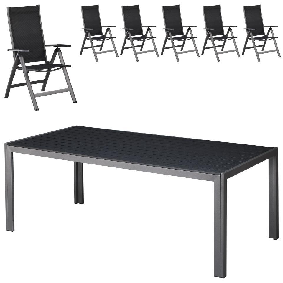 Gartenmöbel-Set Las Vegas (Tisch 100x205 cm + 6 Stühle)
