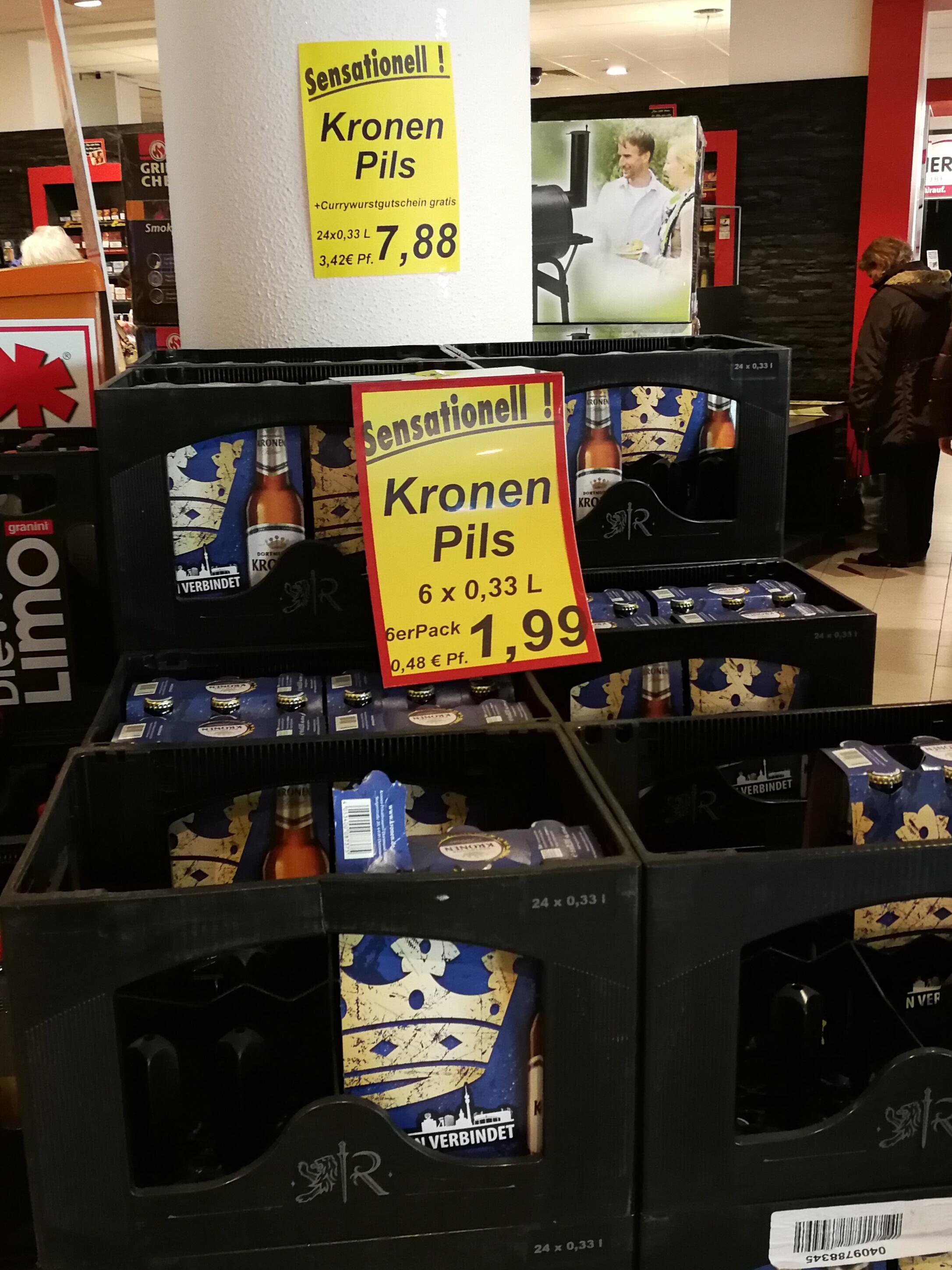[Lokal] Kronen Pils Bier 24 x 0,33l für 7,88 € + gratis Gutschein für eine Currywurst Rewe Dortmund Saarlandstr.
