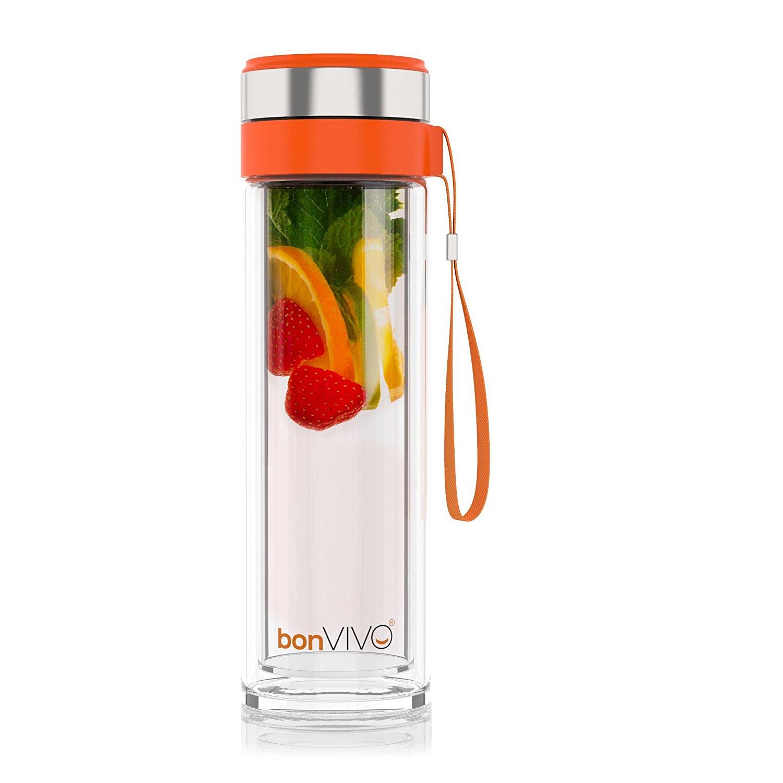 bonVIVO VitaliTEA Glas-Trinkflasche mit Thermo-Funktion und Tea-Filter, 0,45 Liter
