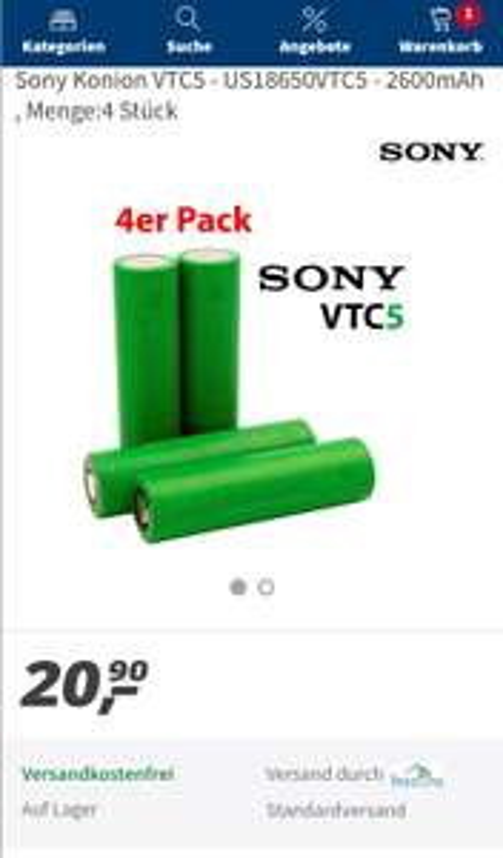 Sony Konion VTC5 2600mAh über Real.de LAGERND