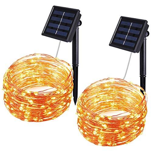 2x 10m 100er Solar LED Draht-Lichterkette