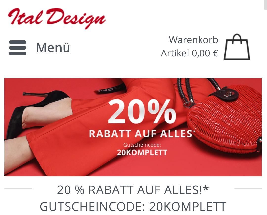 Nur noch heute: 20% Rabatt auf alles bei ital-design.de
