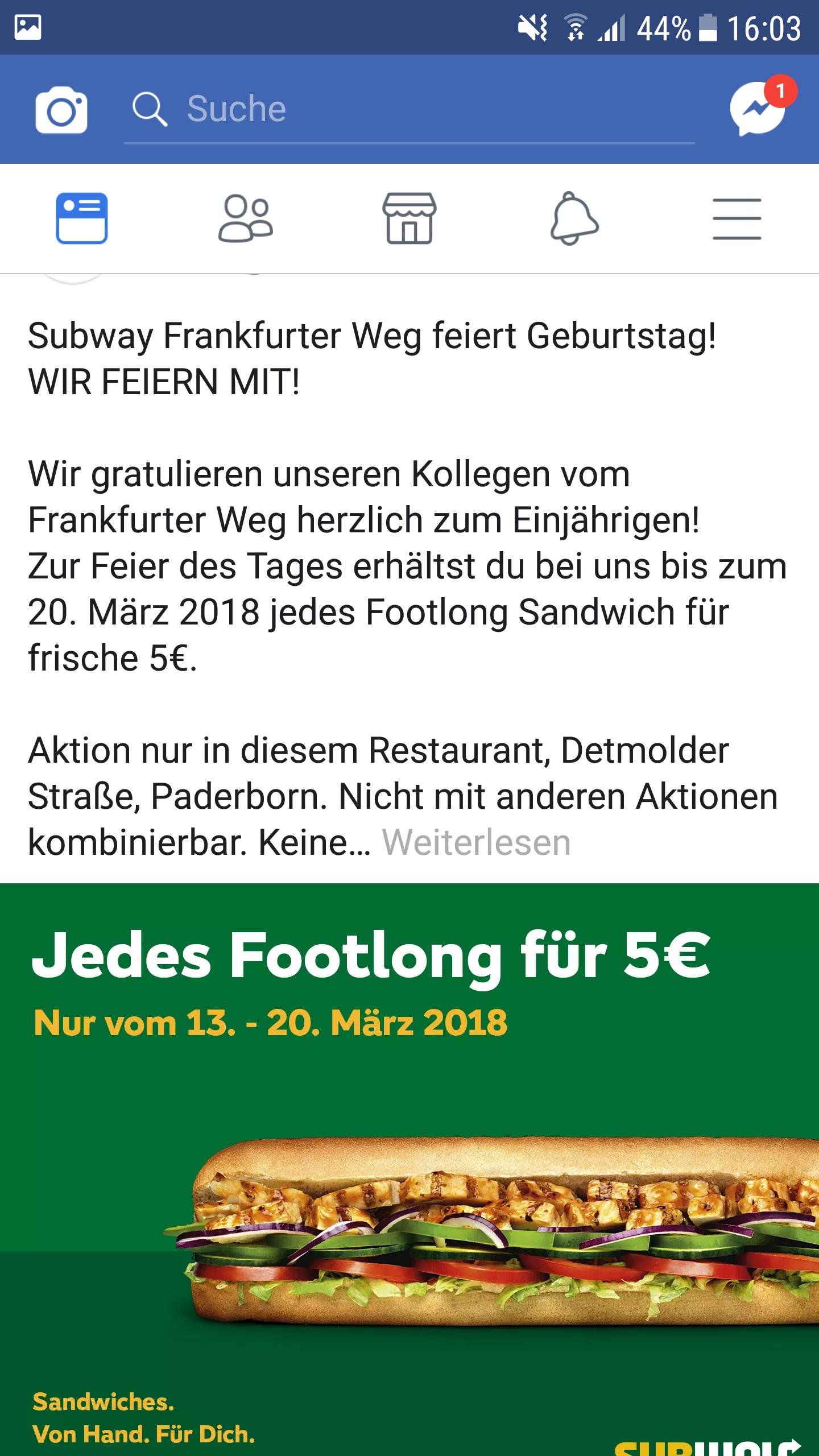 [Lokal Paderborn] Subway Footlong Sandwich 30cm 5 €
