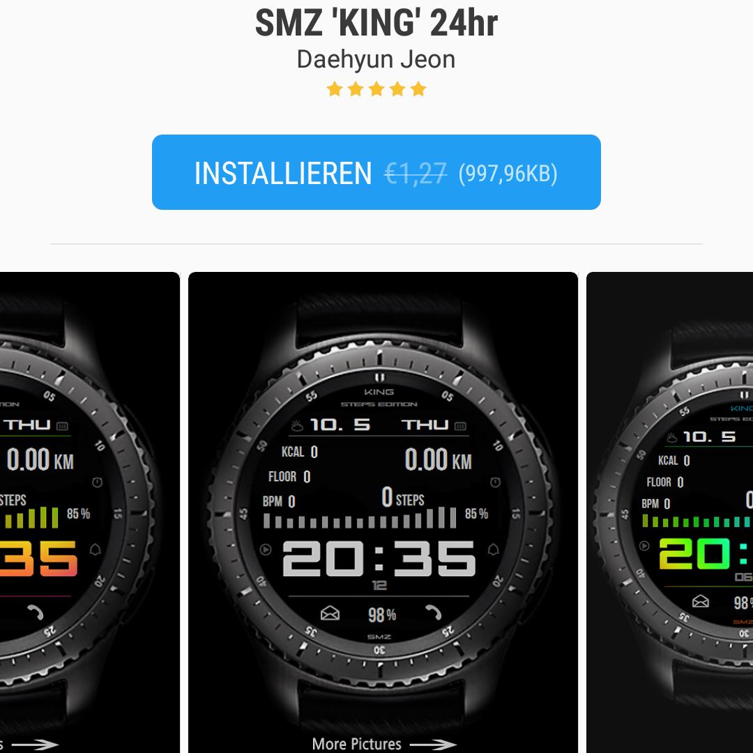[Samsung Galaxy Apps] Gear S3 watch face SMZ King 24hr und 12hr kostenlos statt 1,27 €