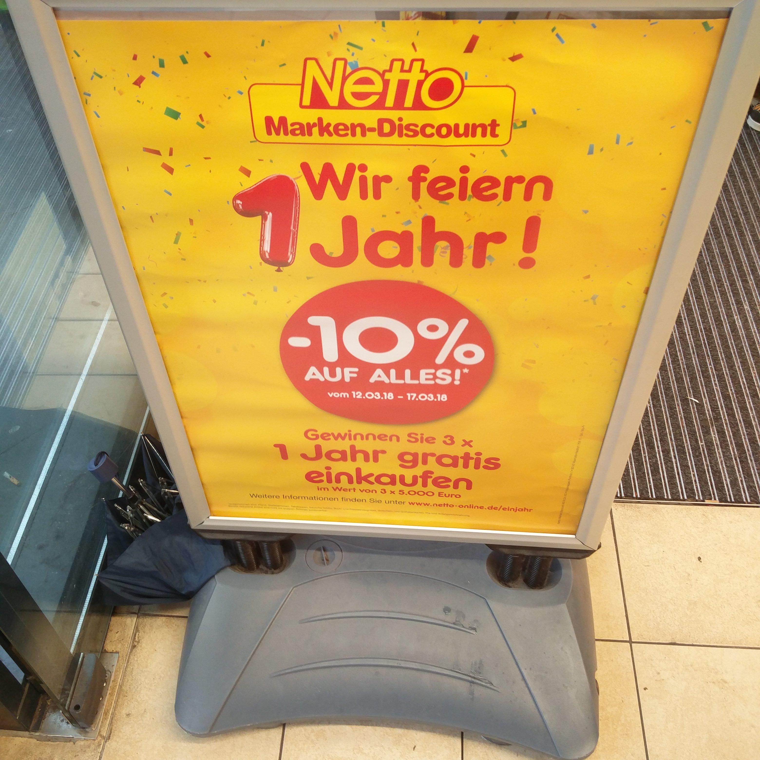 """[Lokal / 42 Filialen in NRW] 10% auf alles* bei Netto Marken-Discount - """"Wir feiern 1 Jahr"""""""