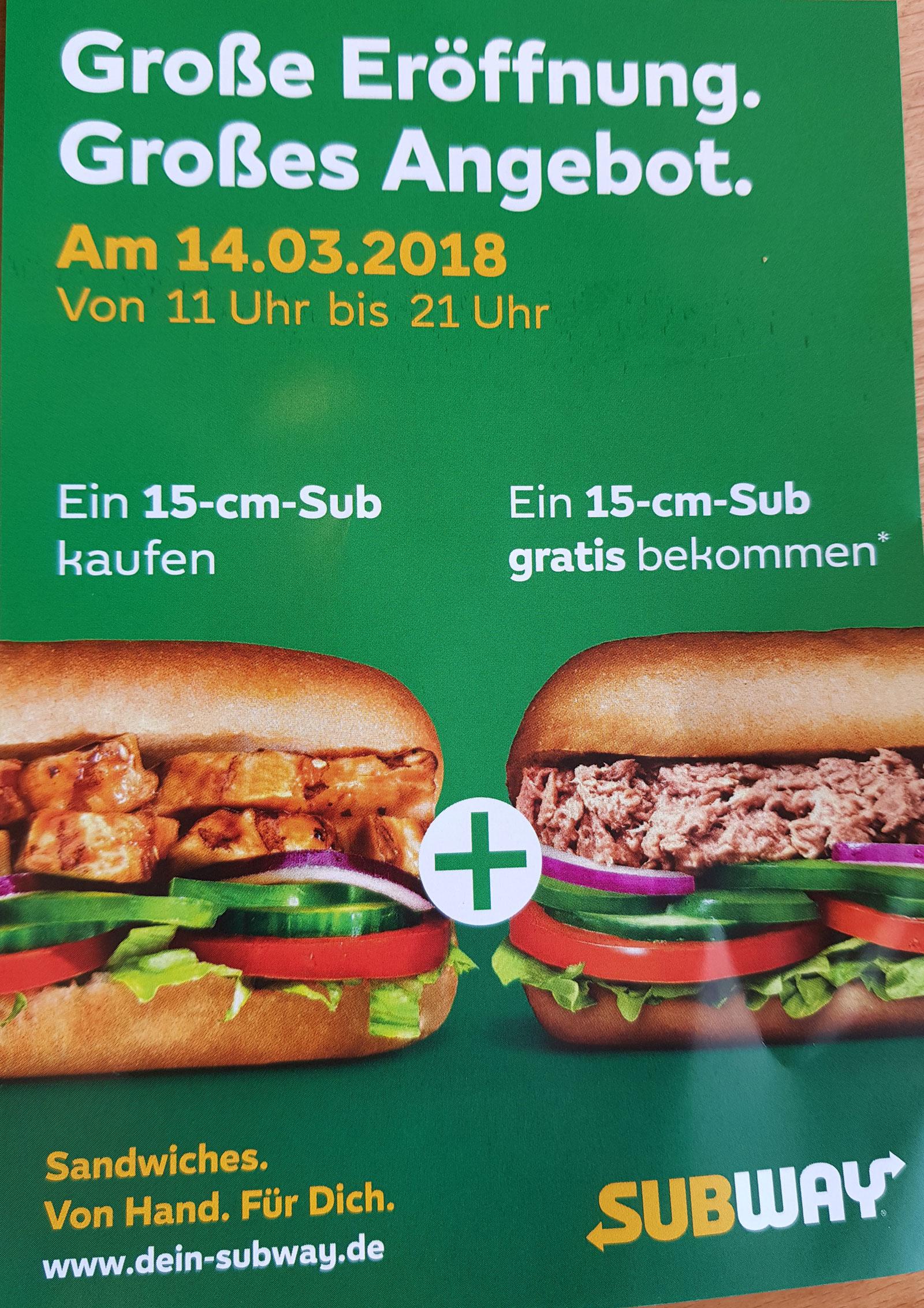 [Lokal Hannover] Ein 15cm Sub kaufen + Eins Gratis (Subway Laatzen)