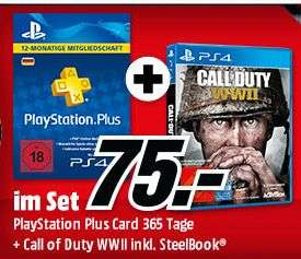 PlayStation Plus Card 12 Monate + Call of Duty: WWII (PS4 Steelbook) für 75,-€