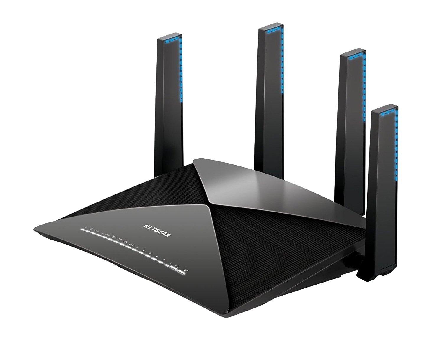 Netgear Nighthawk R9000-100EUS AD7200 Tri-Band Gigabit WLAN Router (funktioniert mit Alexa, 2 x 3.0 USB Ports, MU-MIMO, 1,7 Ghz Quad Core Prozessor, App-Managed, und 10G SFP+ Port) schwarz