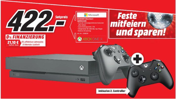 [Regional Mediamarkt Salzgitter und Braunschweig] Microsoft Xbox One X 1TB inc. 2Controller für 422,-€
