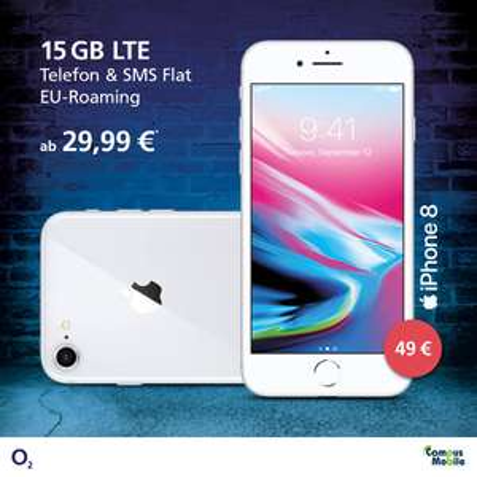 """(LOKAL Dortmund) Apple iPhone 8 64GB mit 15GB LTE  mit dem O2 Free M """"Junge Leute"""" für nur monatlich 29,99€ ,einmalig 49€. iPhone 8 Plus auch verfügbar!!"""