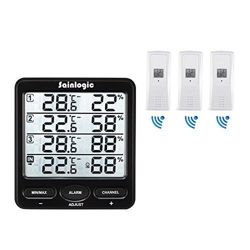 wetterstation sainlogic funk thermometer hygrometer digital wetterstationen mit 3 innen au en 8. Black Bedroom Furniture Sets. Home Design Ideas