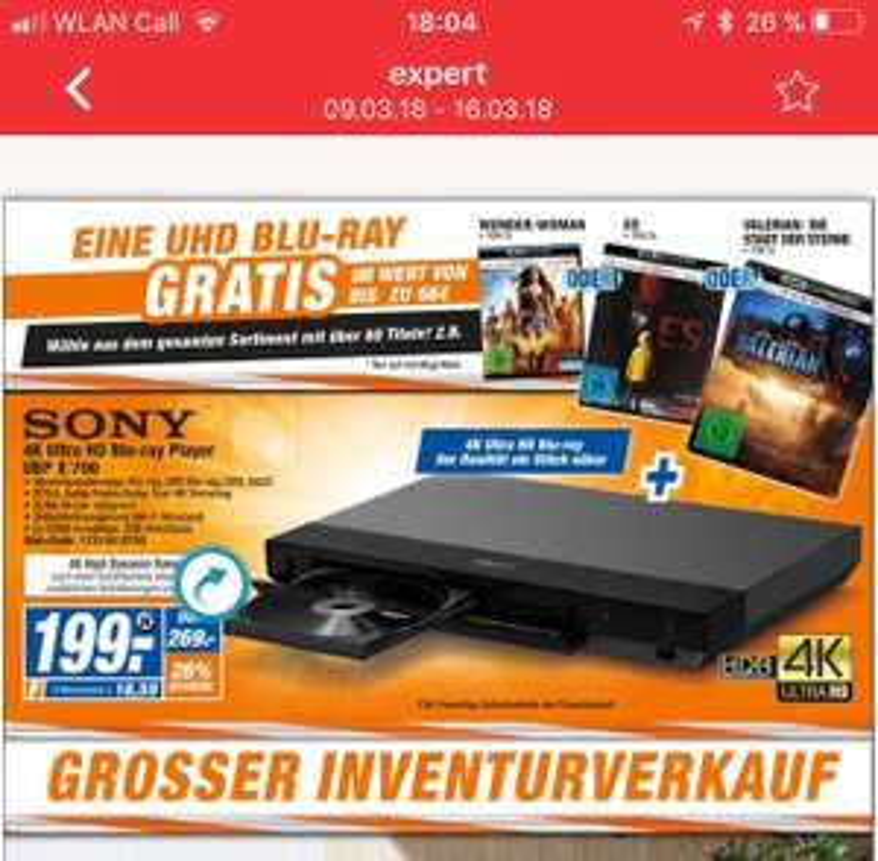 Lokal Melle/Bünde: Sony UBP X700 4K UHD Blu-Ray Player