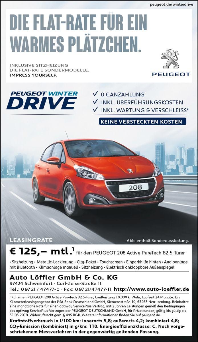 Privatleasing Peugeot 208 inkl. Wartung 125€/Monat