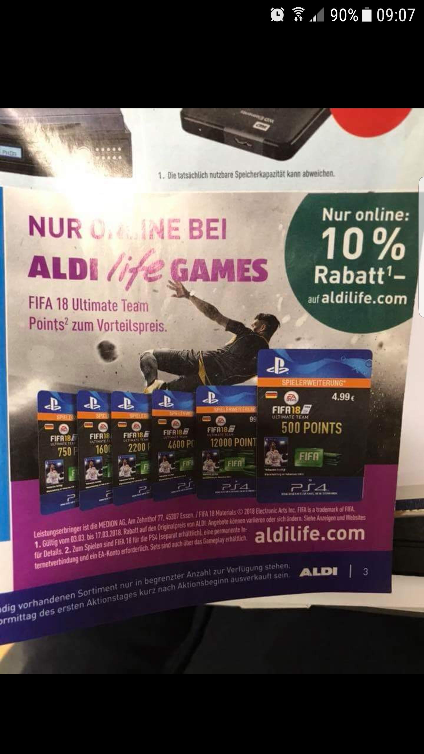 [AldiLife] 10% Rabatt auf Fifa 18 Ultimate Team Points