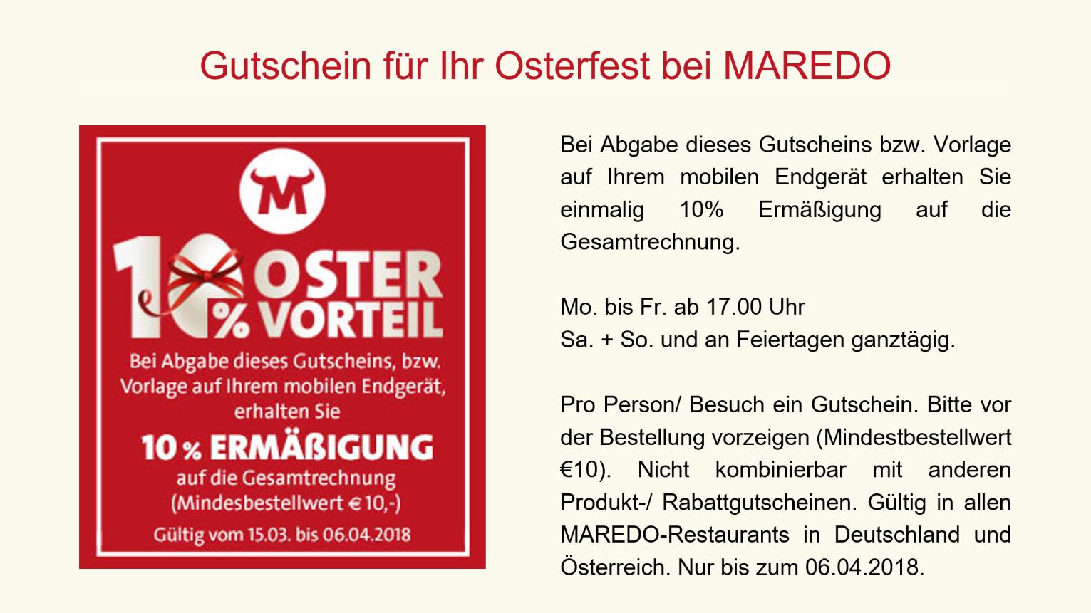 Bundesweit 10% Oster Maredo Gutschein auf die gesamte Bestellung