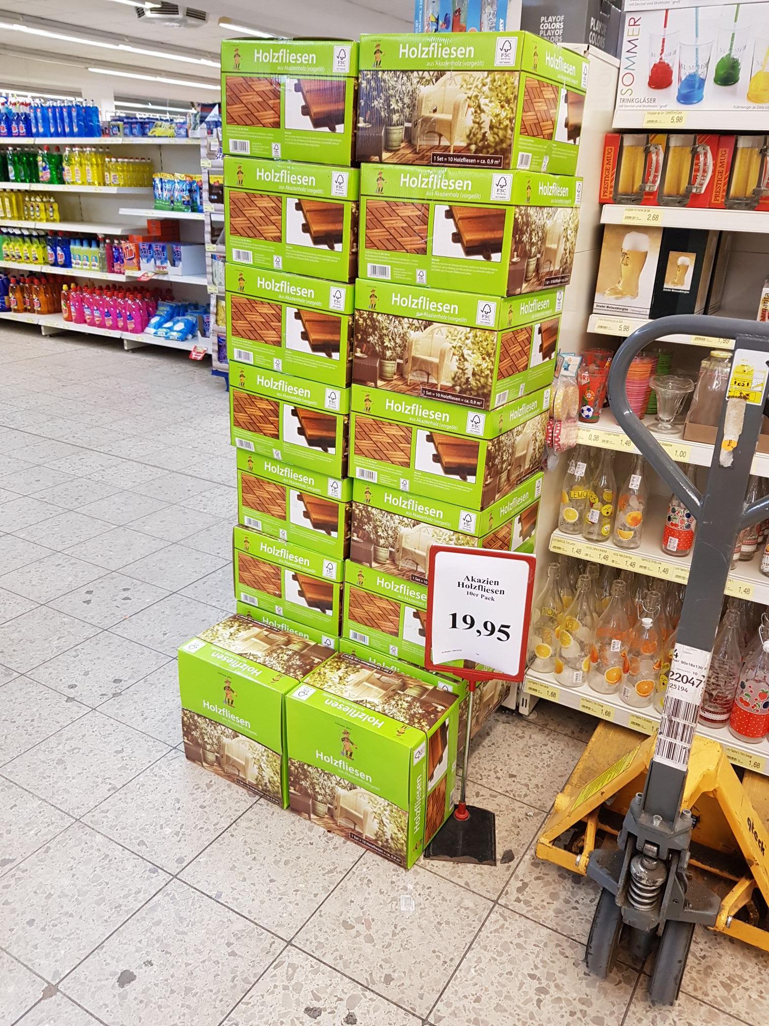 Akazien Holzfliesen 10er Pack