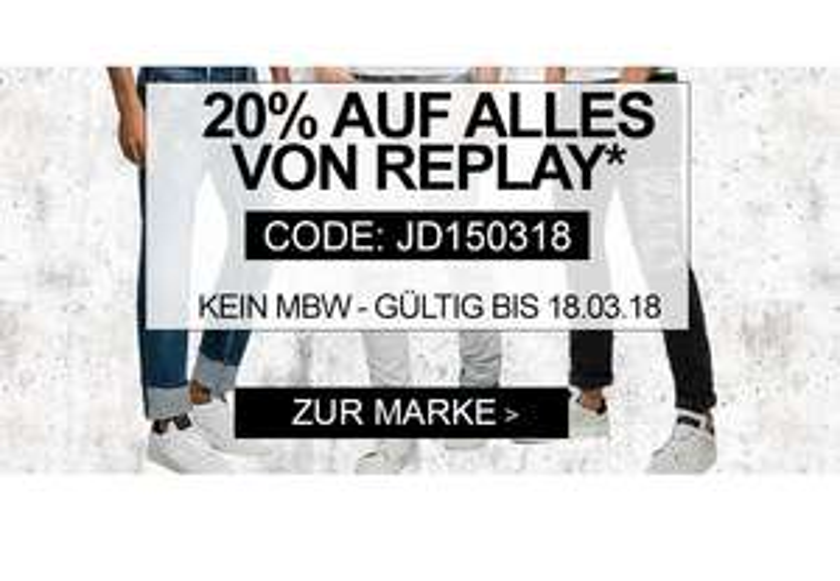 Jeans-Direct: 20% Rabatt auf alle Replay-Artikel!