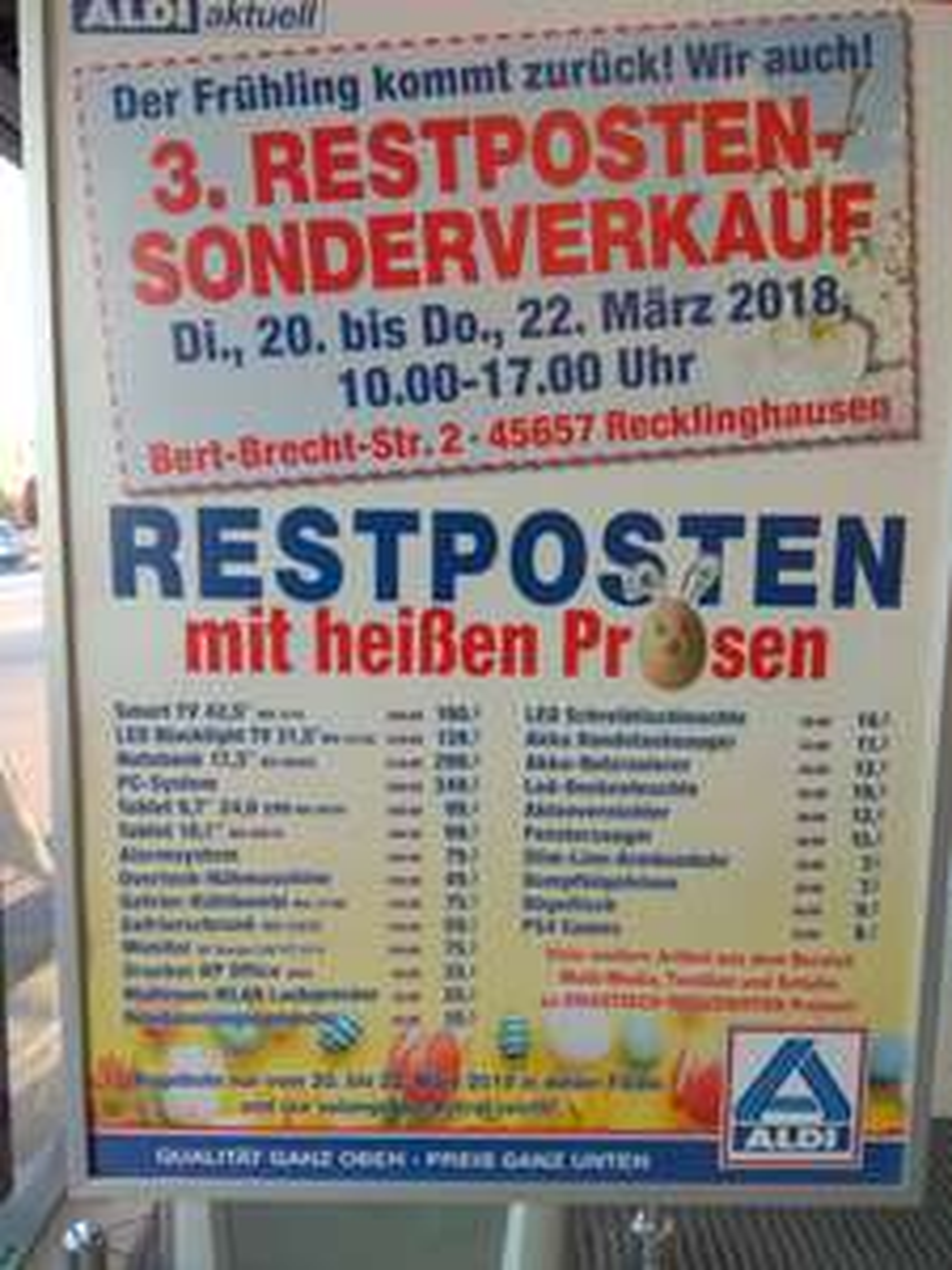 Lokal - Aldi Recklinghausen - 3. Restposten Sonderverkauf