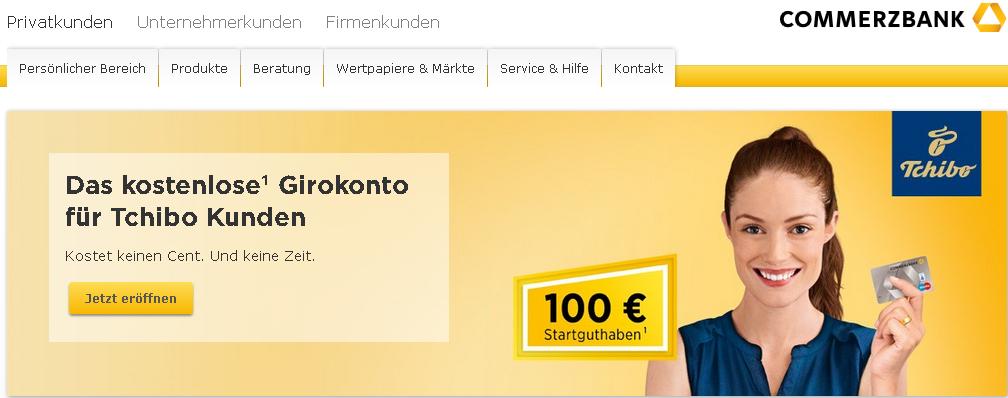 [Tchibo / Commerzbank] Kostenloses Girokonto eröffnen und 100€ erhalten. 0,01€ mind. Geldeingang + 3 Monate je 5x25€ Buchungen