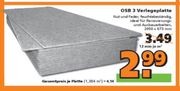 [Globus Baumarkt] OSB Verlegeplatten 12mm ab 19.03