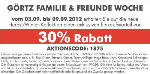 Görtz + Family & Friends Woche + 30% auf fast Alles