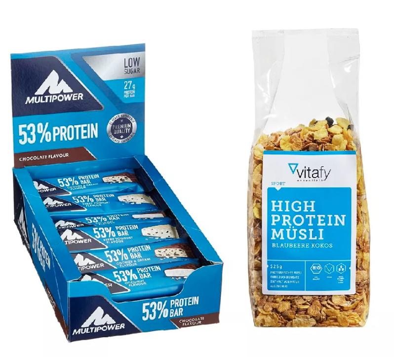 24x50g Multipower Protein Bar Chocolate + Vitafy Essentials High Protein Müsli (525g)
