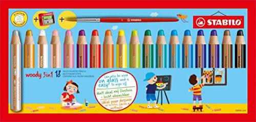 [Amazon] Buntstift, Wasserfarbe & Wachsmalkreide - STABILO woody 3 in 1 - 18 verschiedene Farben mit Spitzer und Pinsel, 1 Stück