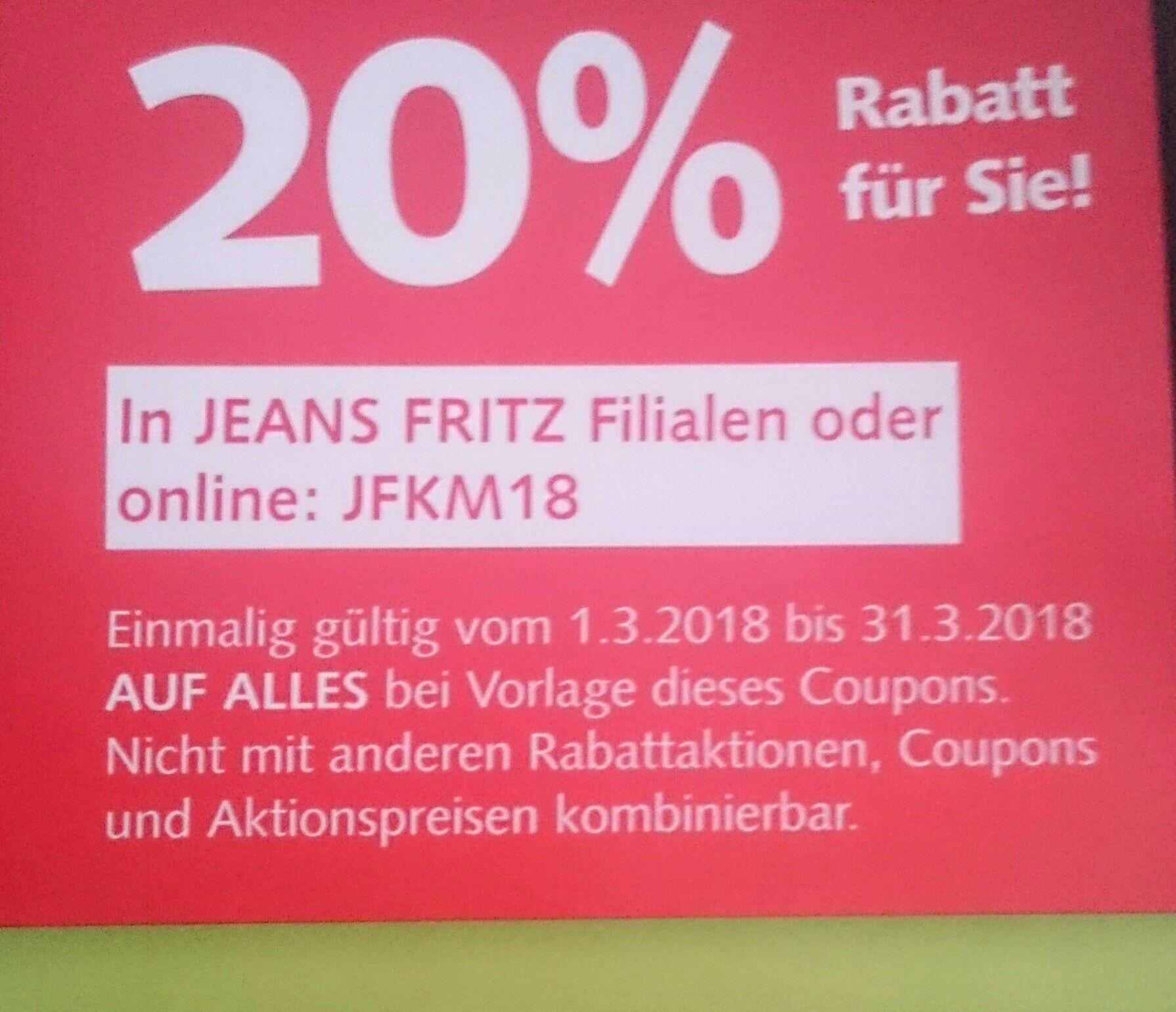 20% auf alles Jeans Fritz online & offline