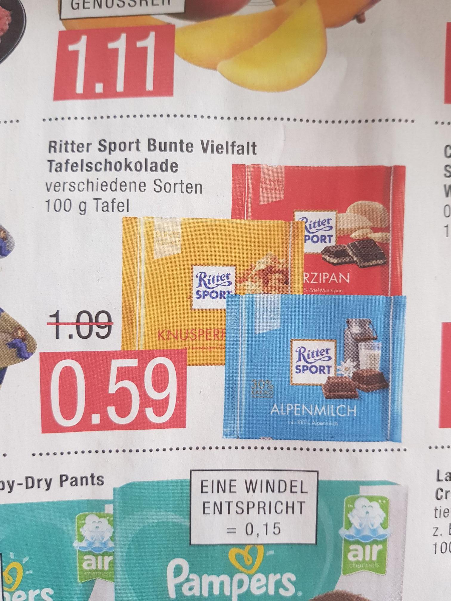 (Marktkauf) 100g Ritter Sport Bunte Vielfalt Tafelschokolade für 0,59€