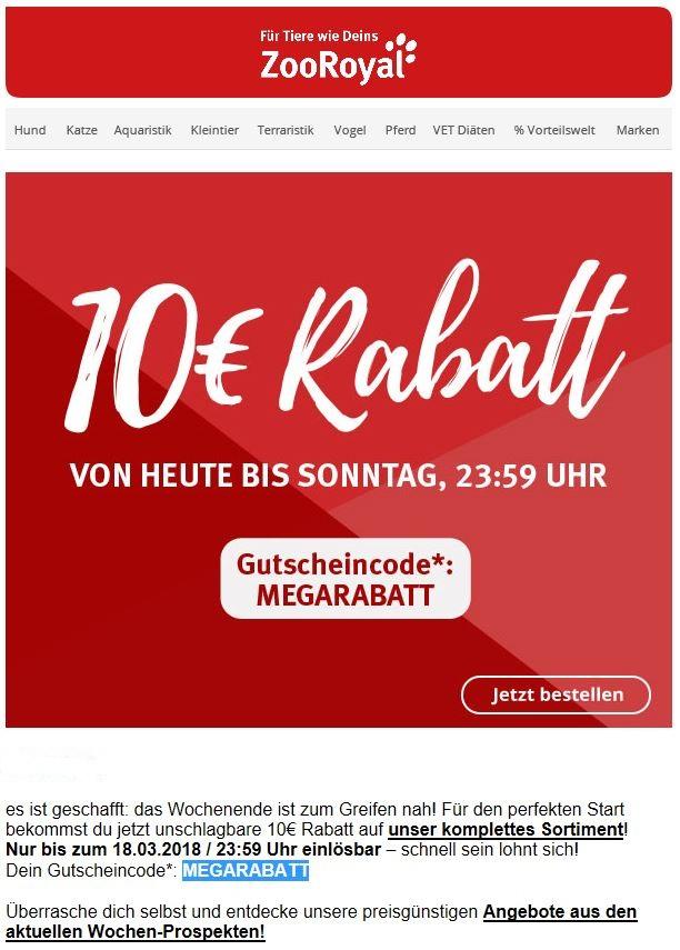10€ Rabatt auf alles bei Zooroyal  MEW 59€ bis 18.03.2018 23.59h