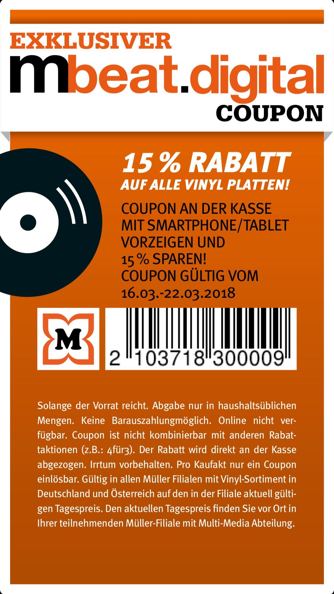 15% Rabatt auf alle Vinyl Platten @ Müller (Drogeriemarkt)