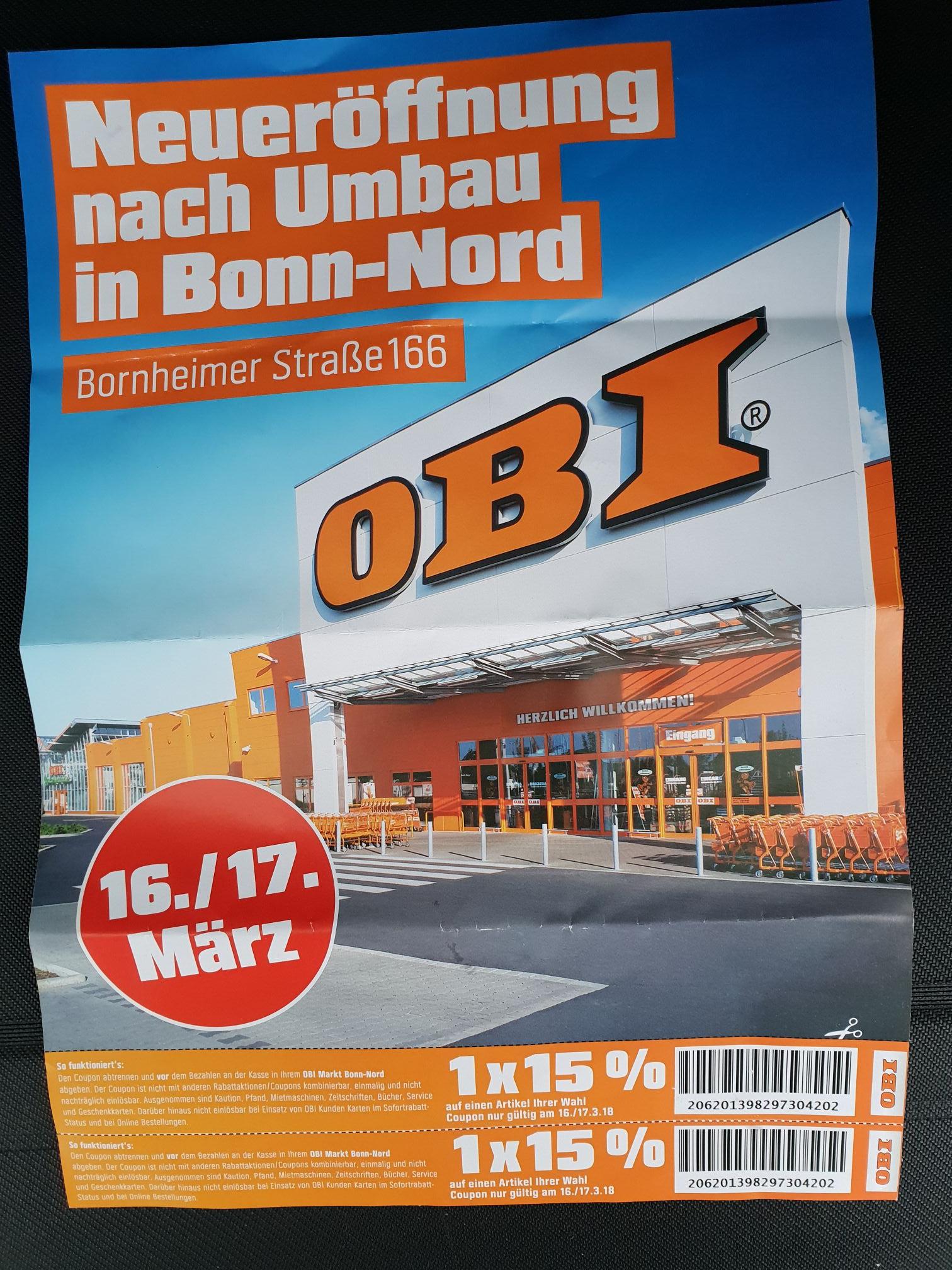 [Lokal]: OBI Bonn-Nord 15% Rabatt (auf 2 Artikel) + gratis Eimer