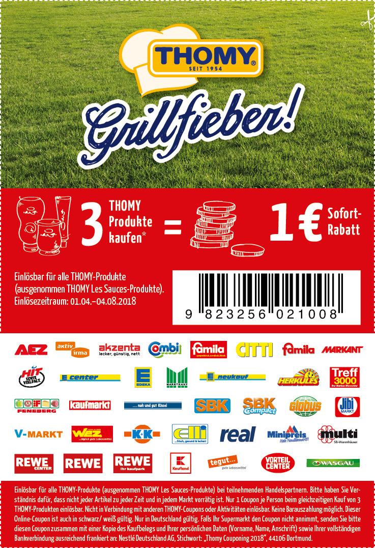THOMY Couponaktion 2018 3 THOMY Produkte kaufen 1€ Rabatt
