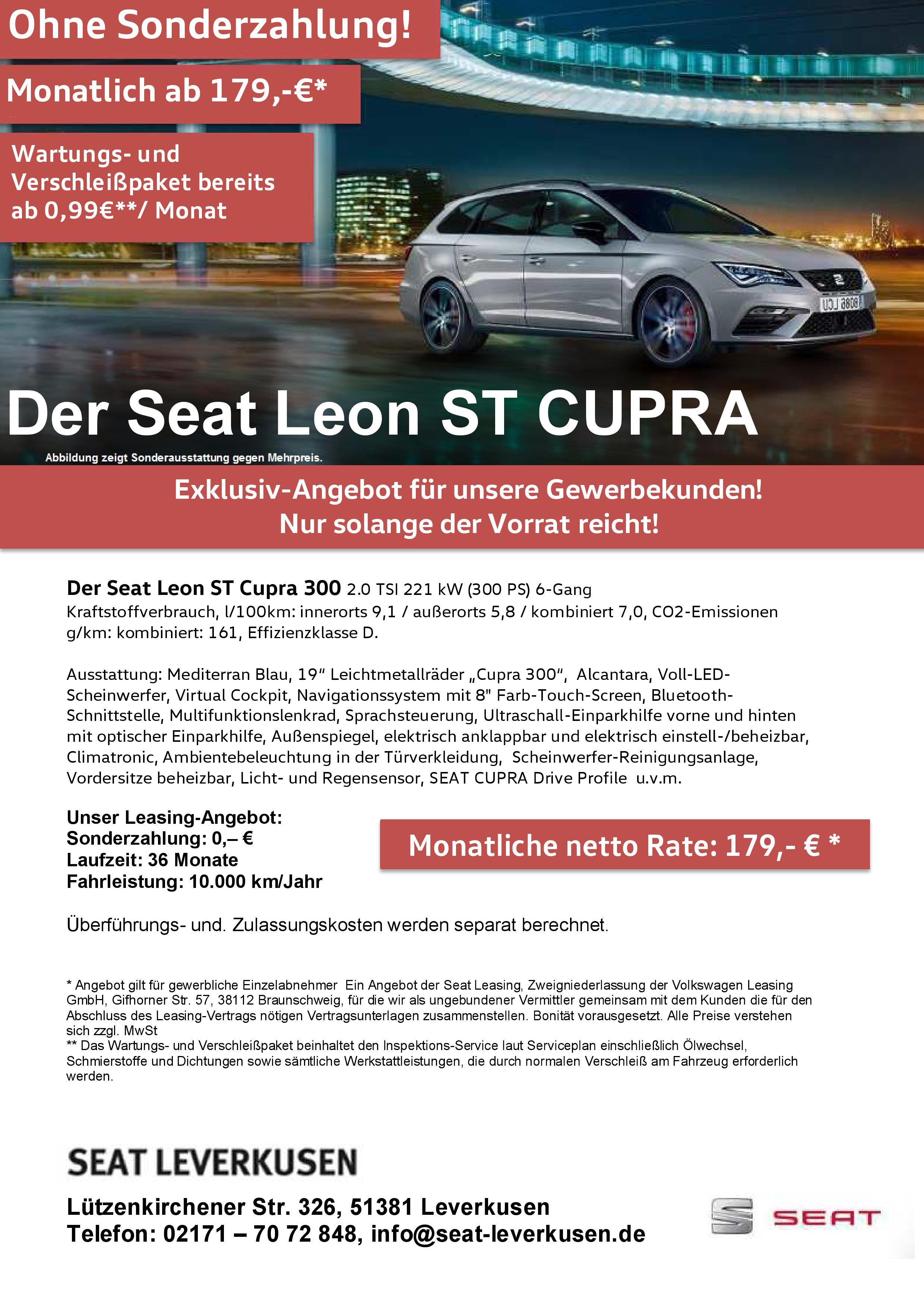 Seat Leon ST Cupra Leasing für Gewerbekunden - 179 Euro mtl. netto, 10.000km, 36 Monate, 0 Anzahlung