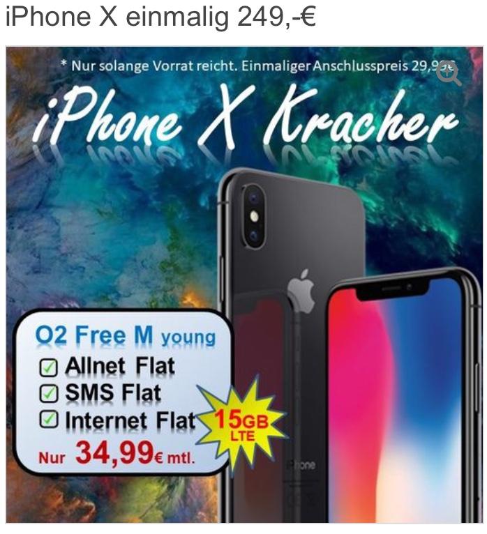 Apple iPhone X 64 GB mit O2 Free M Young 15GB / Bestpreis mit brauchbaren Vertrag / Ü28 120 € teurer