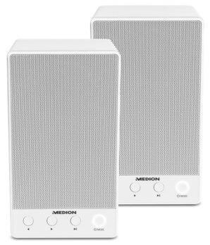 [Medion] Sparpaket - 2 x MEDION® LIFE® P61084 WLAN Multiroom Lautsprecher, WLAN zur Einbindung ins Heimnetz, DLNA, USB, AUX-In, Steuerung über App, weiß