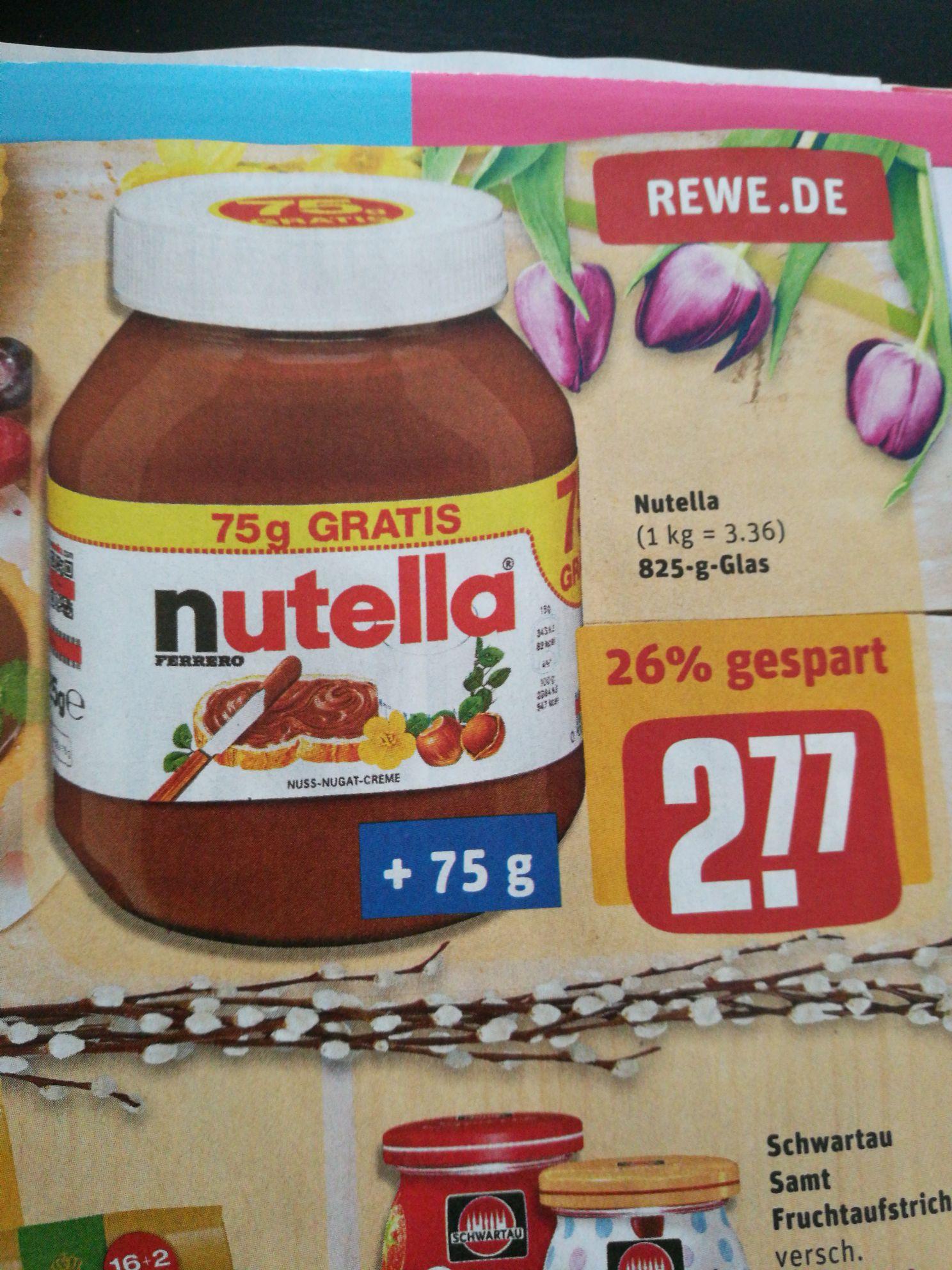 [REWE] Nutella 825 g Glas für 2,77 €