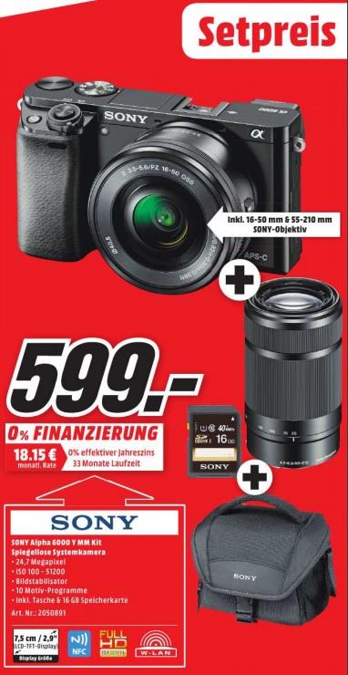 [Lokal München, Erding + Karlsfeld] Sony Alpha 6000 Kit (16-50mm + 55-200mm) inkl. SDHC-Karte 16Gb und Tasche bei Media Markt