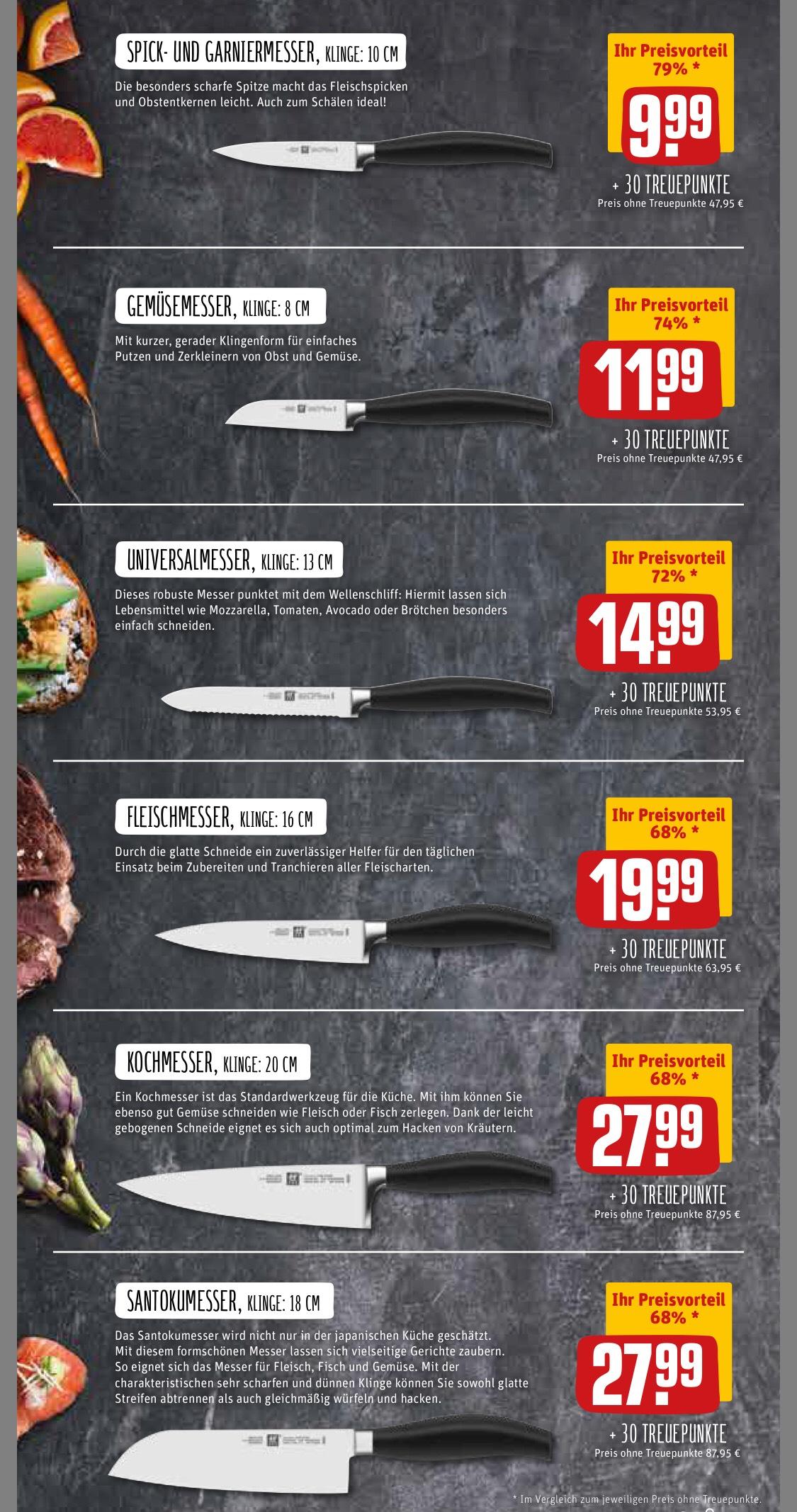 Zwilling Five Star Messer (Rewe Treuepunkte // inoffiziell auch ohne Einkauf) Preisbeispiel Santokumesser