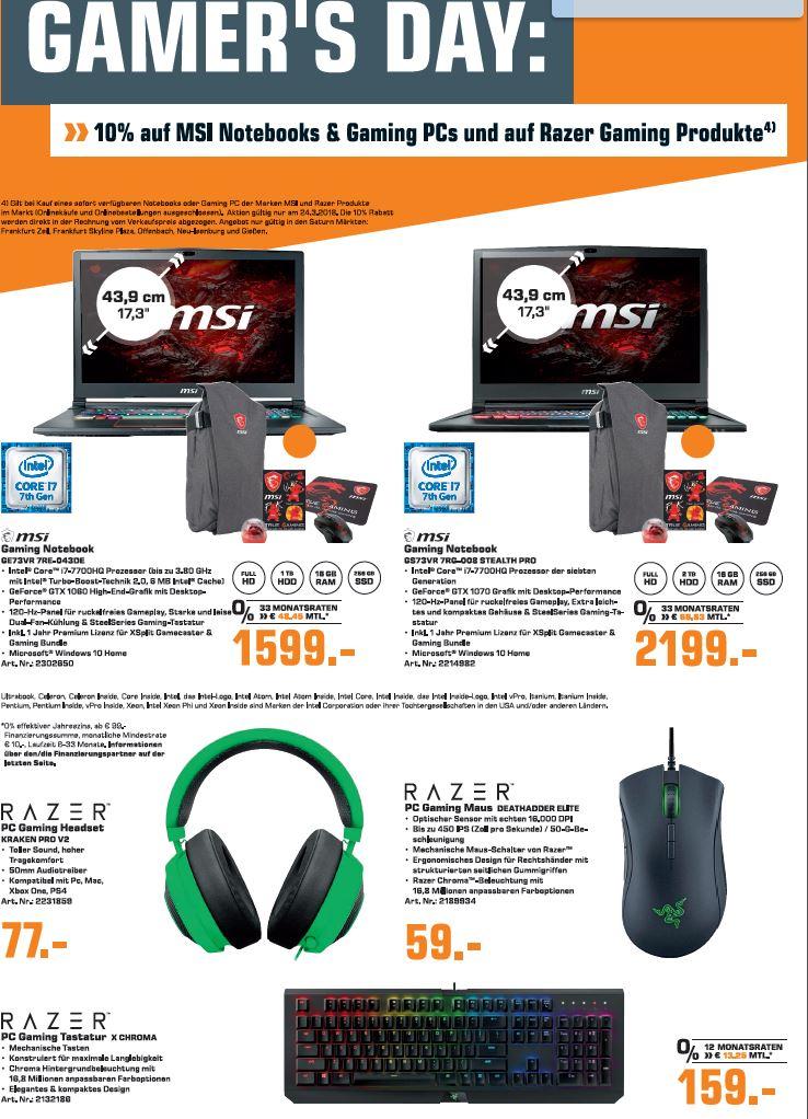 MSI und Razer Produkte -10%