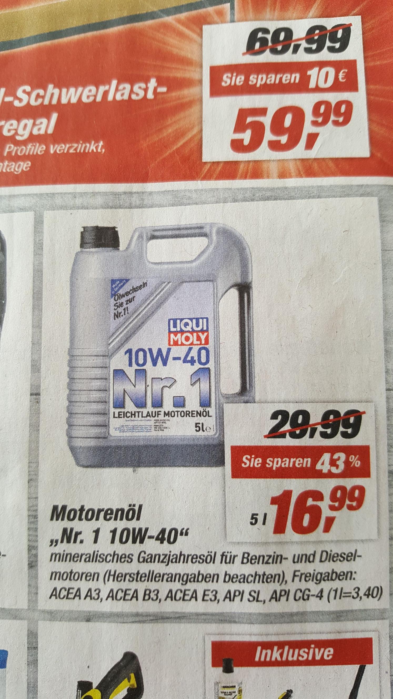 [Offline/Lokal - toom Baumarkt] LIQUI MOLY Nr.1 10W-40 5 Liter Leichtlauf Ganzjahres Benzin- & Diesel-Motorenöl